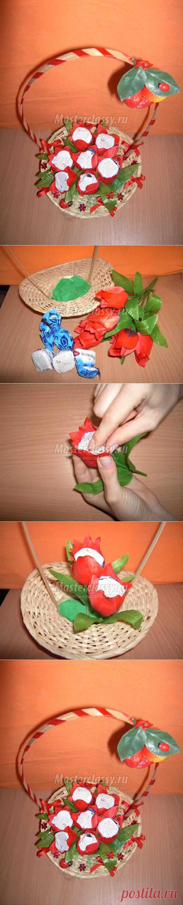 Корзинка с конфетами своими руками. Мастер-класс с пошаговыми фото