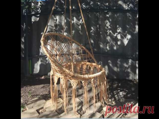 Круглые садовые качели (плетеное кресло) выполненные в технике макраме | Другие виды рукоделия Для работы использован шнур полипропиленовый с сердечником и без, диаметром 4 мм. Цвет