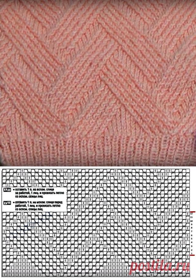 Необычный рельефный узор с эффектом переплетения (Вязание спицами) – Журнал Вдохновение Рукодельницы