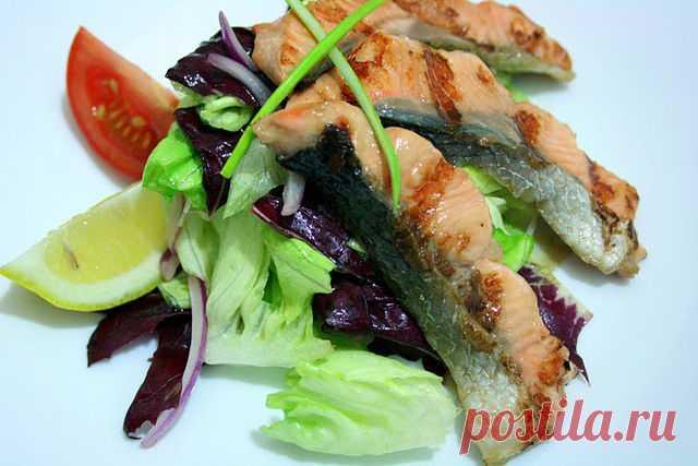 Рецепт лосось - гриль на подушке из салата (salmone alla piastra su letto d'insalata ), пошагово, с фото – Рецепты итальянской кухни
