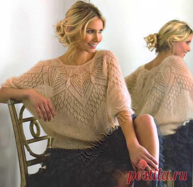 Ажурная блуза из мохера | ДОМОСЕДКА