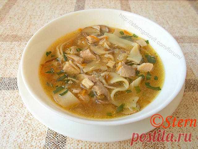 Суп куриный с лапшой и грибами