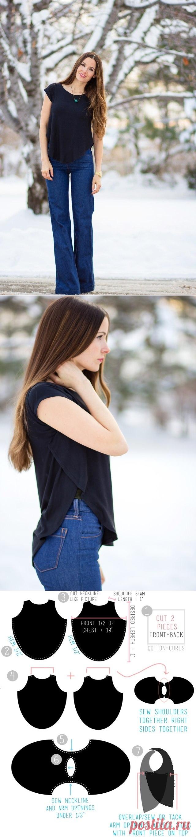 Простая в пошиве блузка с оригинальным фасоном — Сделай сам, идеи для творчества - DIY Ideas