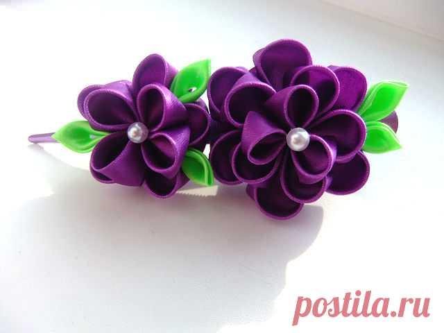 Как сделать цветы из атласных лент для заколок