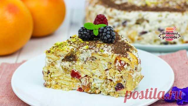 Витаминный торт с сухофруктами и печеньем