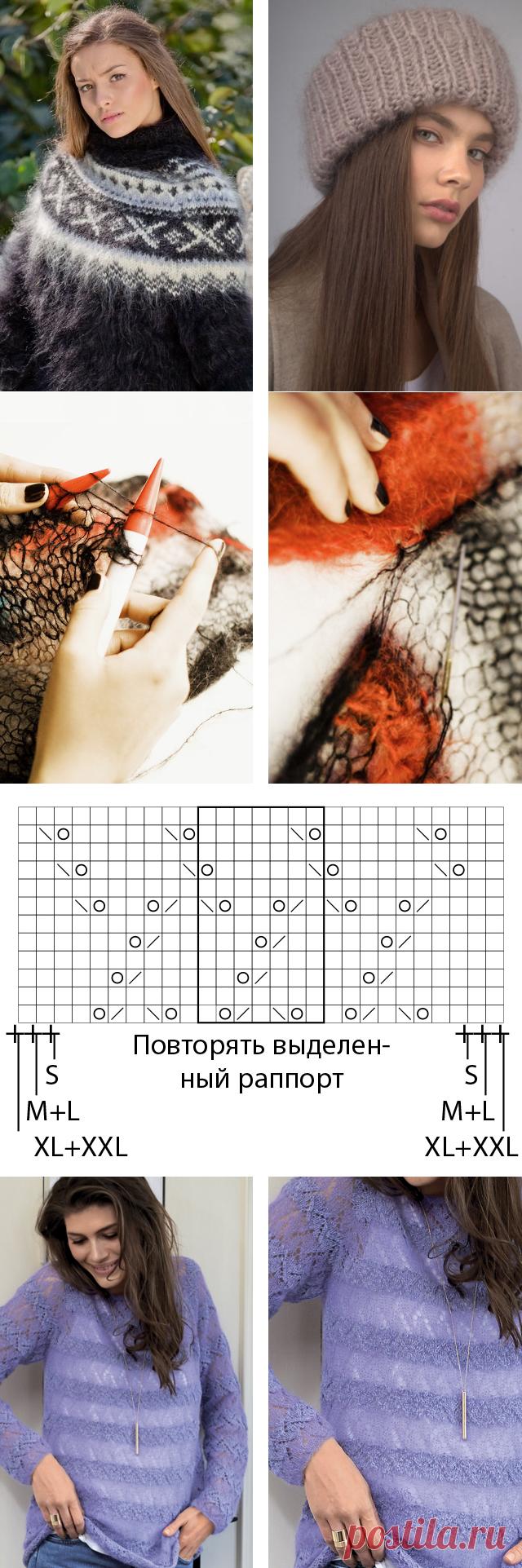Вязаные модели из мохера спицами - схемы и описание