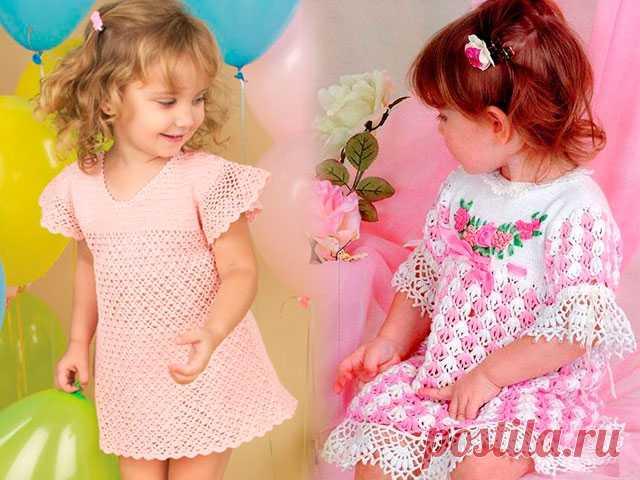 Детские платья крючком со схемами и описанием Если вы желаете научиться вязать детские платья крючком, начните с самых простых моделей. Так вы сможете радовать своих маленьких девочек шикарными обновками.
