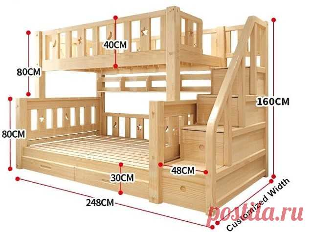 Годный проект двухъярусной кровати  На заметку