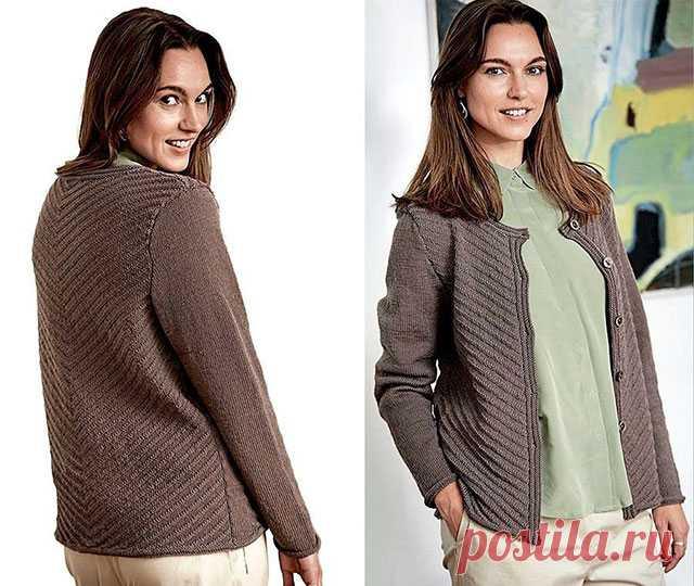 Кофты диагональным узором спицами – 4 схемы с описанием вязания — Пошивчик одежды