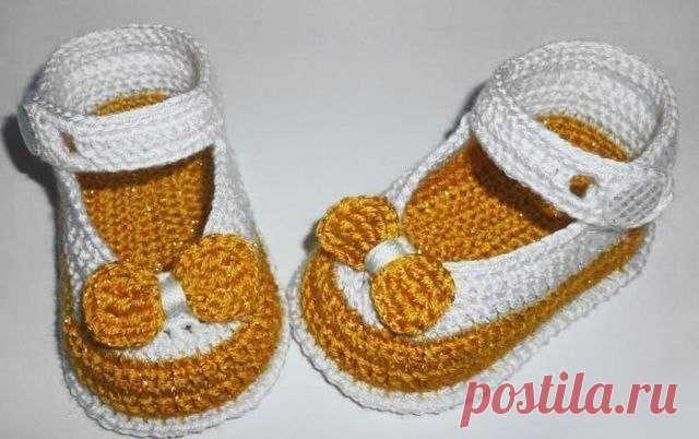 Вяжем туфельки-пинетки для малышки.