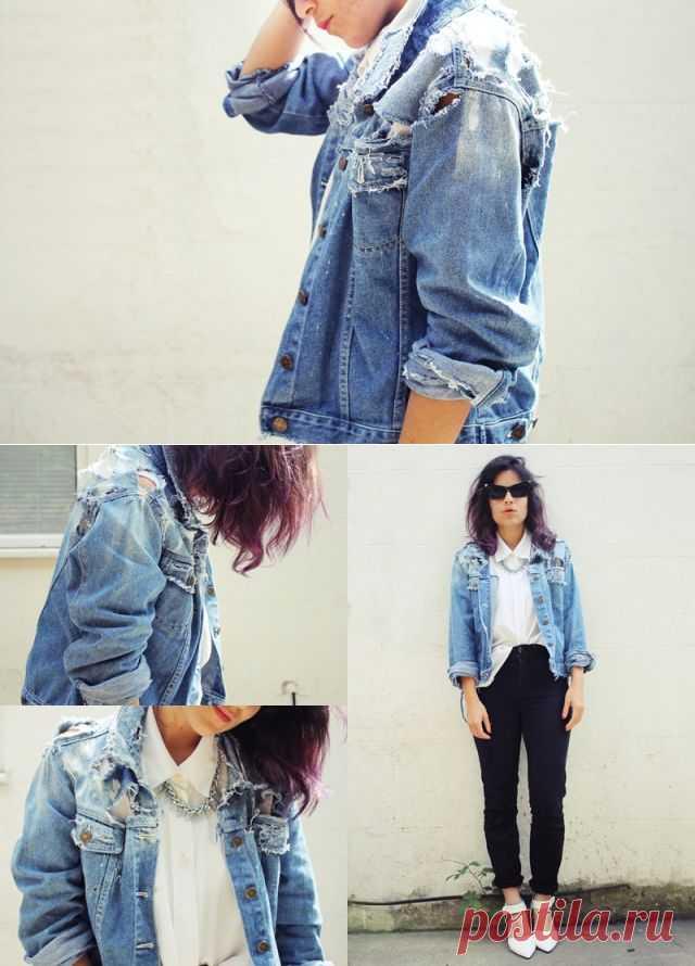 Как красиво продрать джинсовую куртку (DiY) / Курточные переделки / Модный сайт о стильной переделке одежды и интерьера