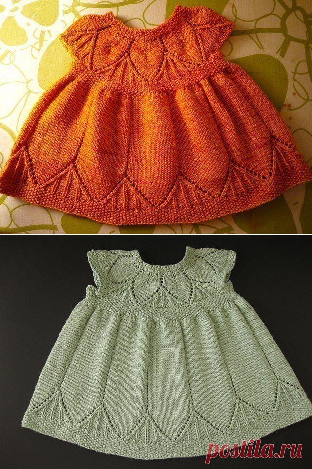Детское платье спицами. Одеваем крошек красиво!!!