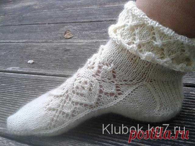 ажурные носки спицами с узором от центра вязание спицами носки