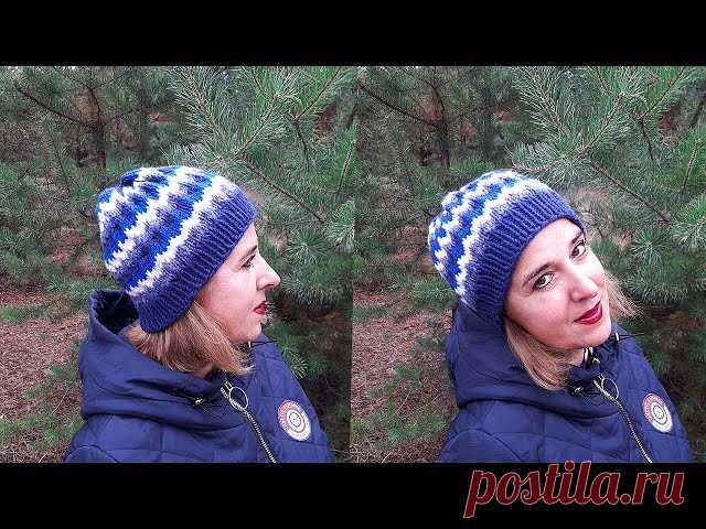 Женская шапка узором «Ленивый жаккард»   Вязание для женщин спицами. Схемы вязания спицами Если у вас собрались остатки пряжи, предлагаю связать женскую шапку спицами узором «Ленивый жаккард».  Шапка вяжется легко, быстро и просто, без швов, получается теплой и удобной.Для вязания нам понадобятся:— остатки ниток 4 разных цветов (желательно одинаковых по толщине, у остатки...