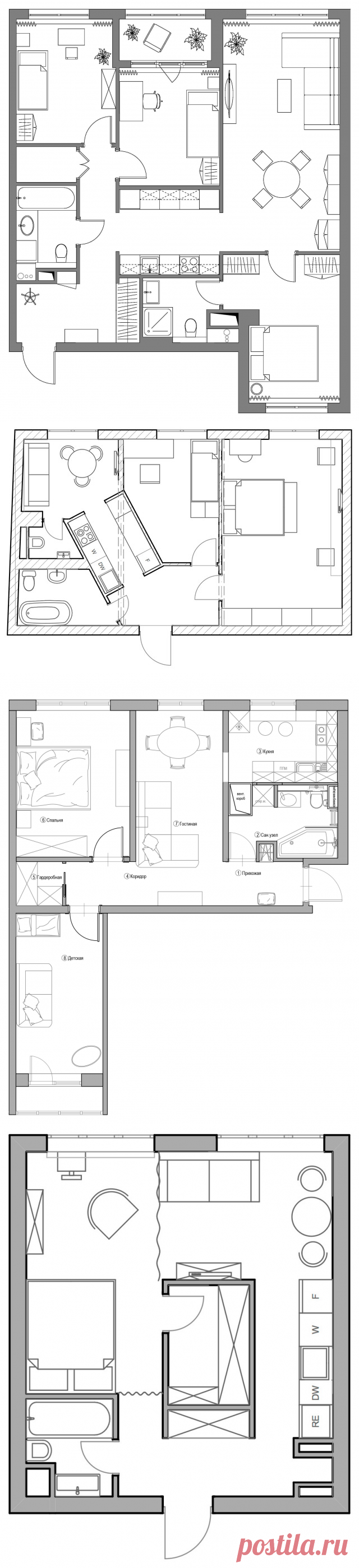 Дизайн интерьера маленькой квартиры, фото дизайна маленьких квартир   Houzz Россия