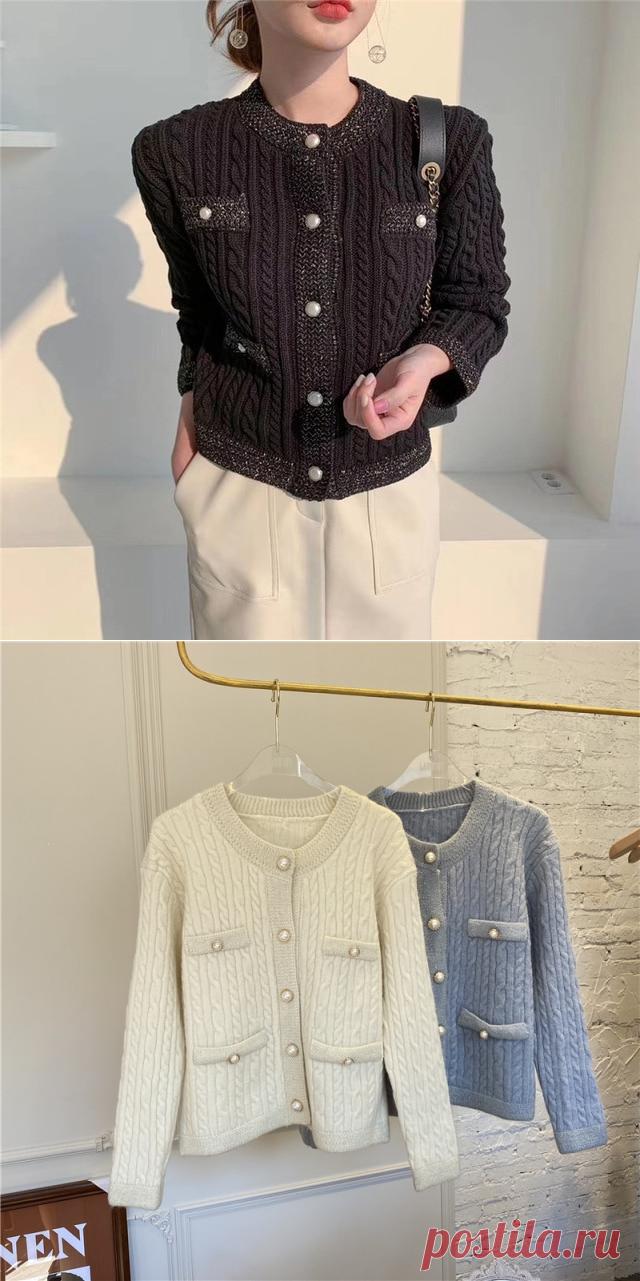 Новинка 2020, модный брендовый женский свитер, Осенний вязаный Повседневный плотный однобортный свитер с круглым вырезом и искусственным жемчугом|Кардиганы| | АлиЭкспресс