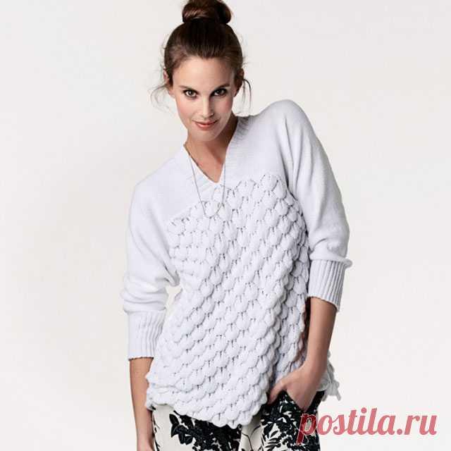 Пуловер объемным рельефным чешуйчатым узором спицами – 3 схемы женских моделей с описанием — Пошивчик одежды