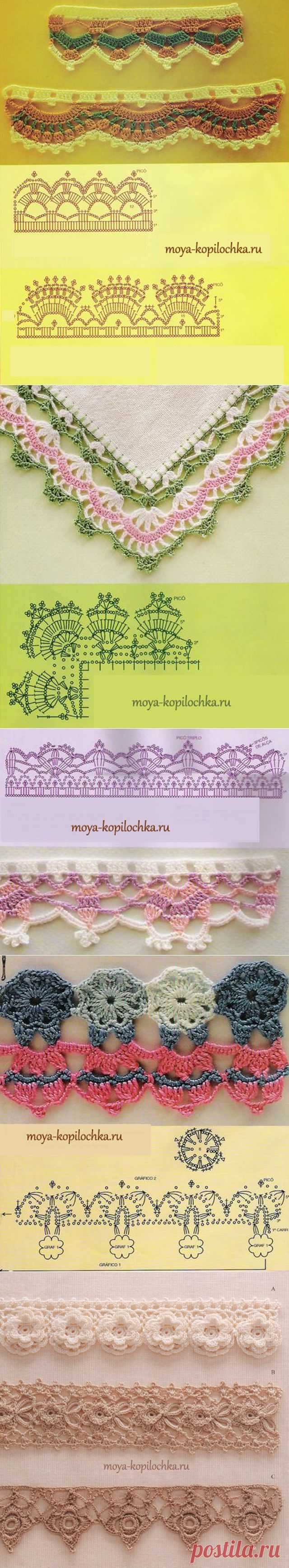 42 образца вязаного кружева для отделки края изделия со схемами - Вязание - Моя копилочка