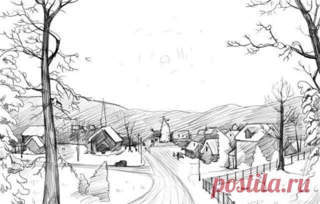 Как нарисовать красивый пейзаж карандашом и красками поэтапно для начинающих? Простые и легкие пейзажи для рисования. Как нарисовать летний и зимний пейзаж природы карандашом поэтапно?