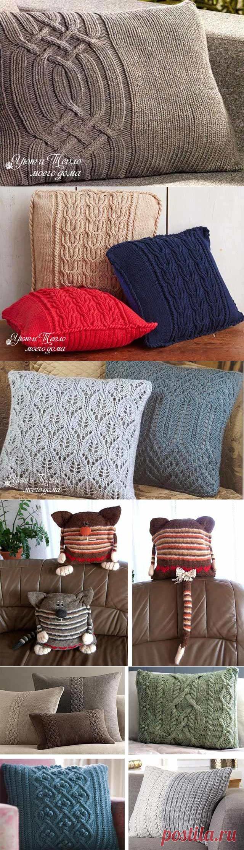 Вязаные наволочки на диванные подушки спицами