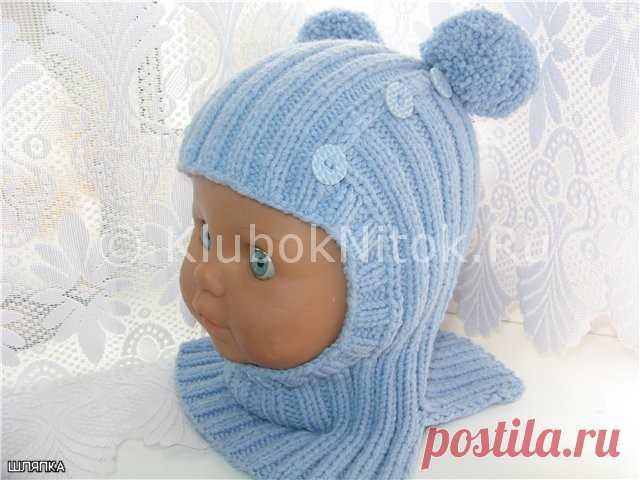 Шапочка-шлем с помпонами | Вязание для девочек | Вязание спицами и крючком. Схемы вязания.