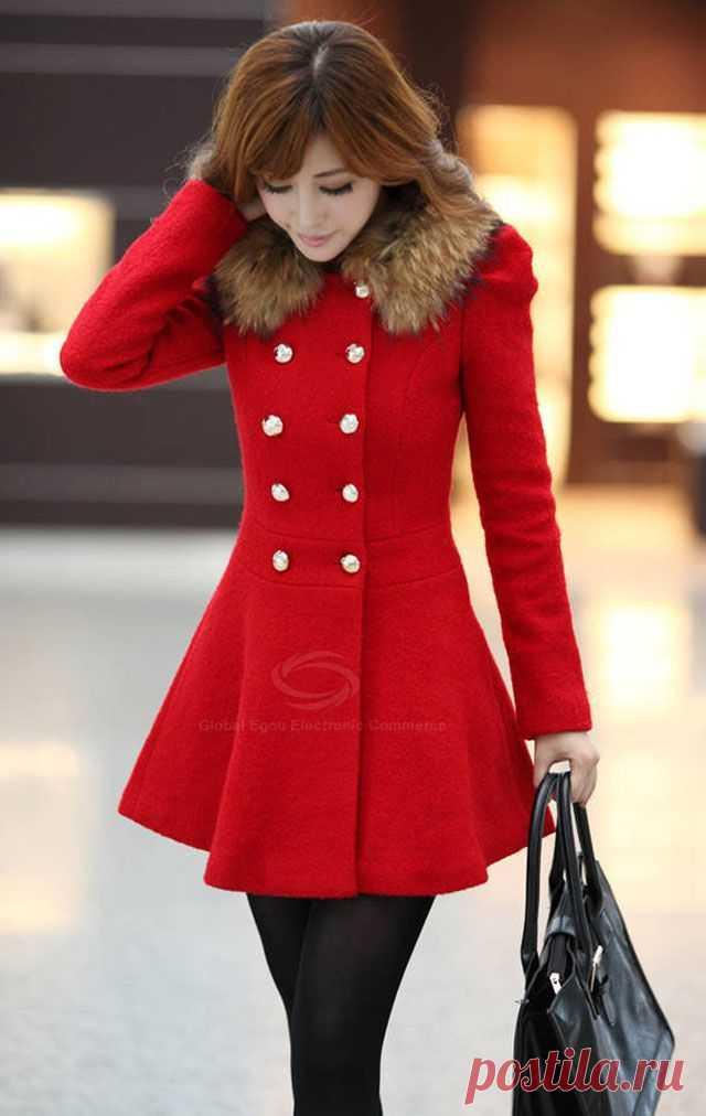 Slim Fit el cuello los abrigos cruzados para las mujeres (sin artificial el cuello de piel) (el jacinto, S) | Sammydress.com, 676 rbl.