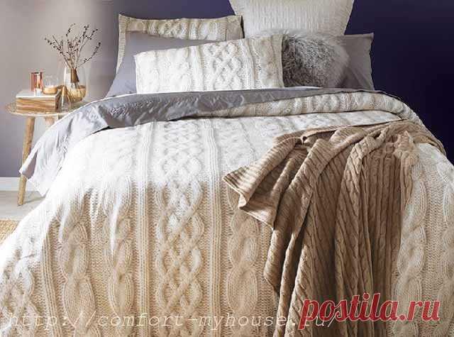 вязаное одеяло спицами своими руками уют и тепло моего дома