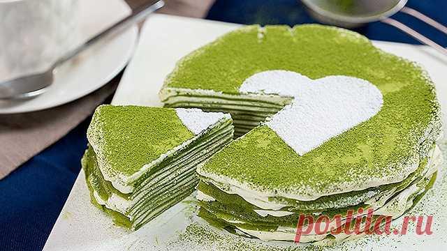 Как приготовить блинный торт с матча