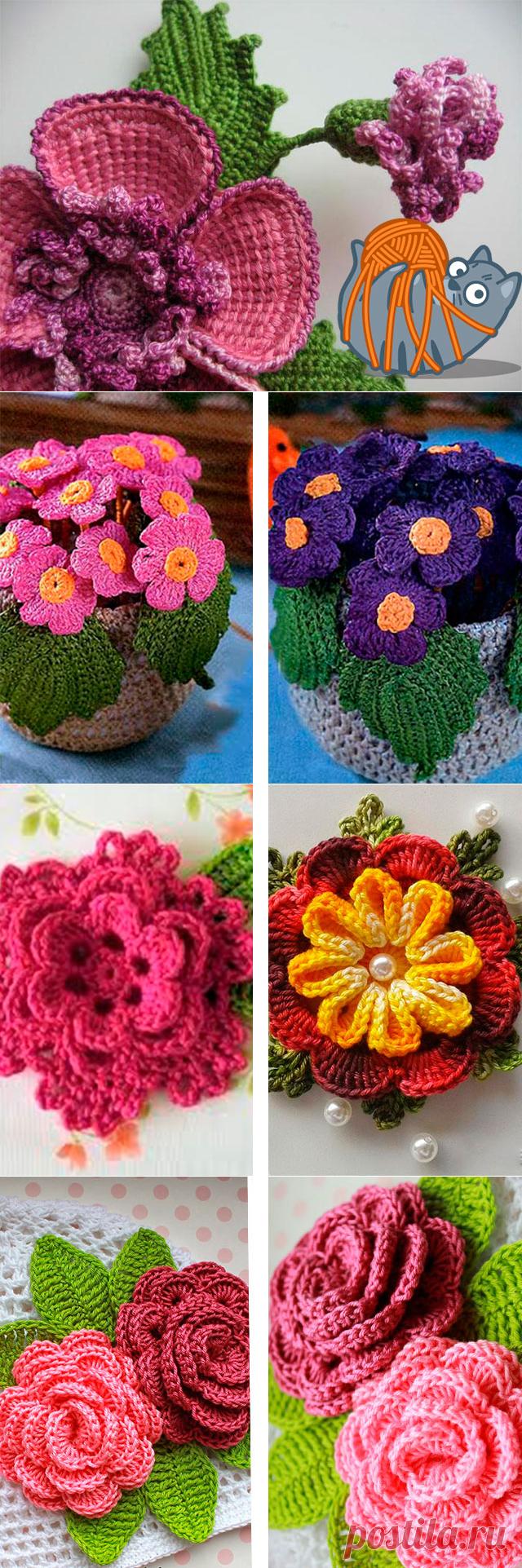 Вязаные цветы крючком схемы для начинающих - вязание цветов с описанием