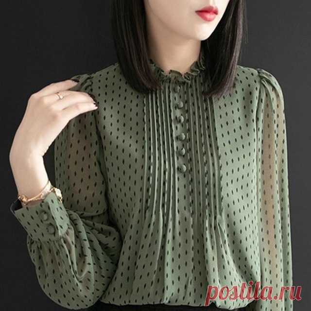 Женская шифоновая блузка с оборками, Повседневная Блузка в горошек с длинным рукавом, большие размеры | Блузки и рубашки