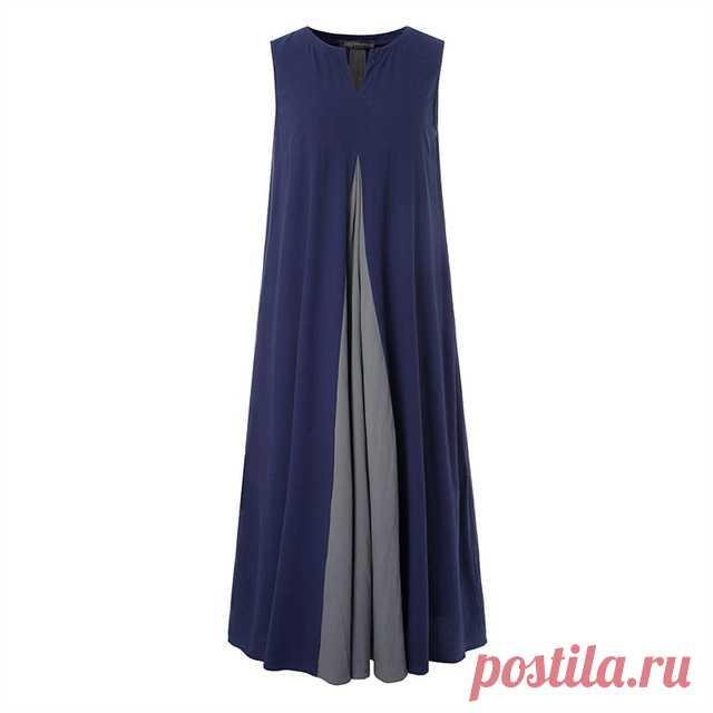 Летнее хлопковое льняное платье размера плюс ZANZEA, женский сарафан без рукавов, винтажное длинное платье|Платья| | АлиЭкспресс