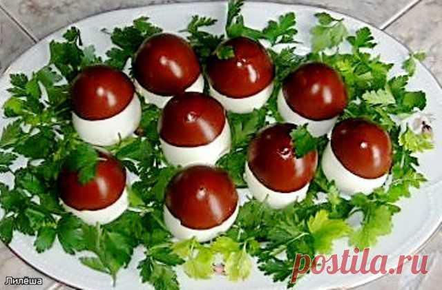 Фаршированные яйца Грибная полянка