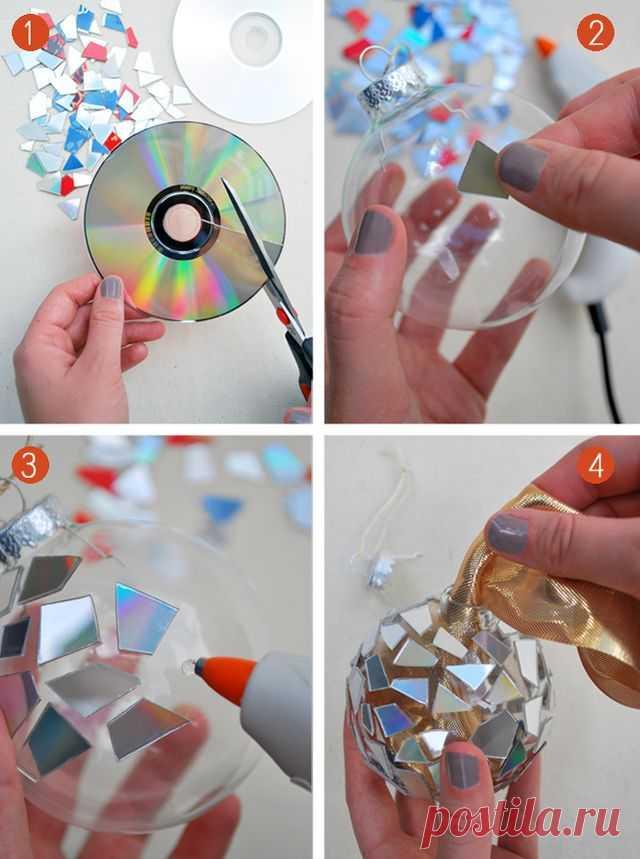 Декор елочных шаров мозаикой из компакт-дисков