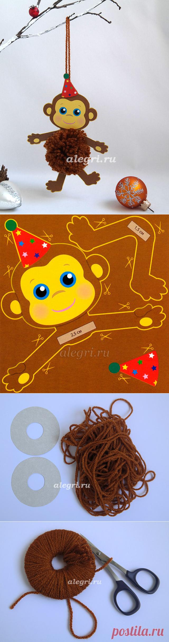 Новогодняя игрушка Обезьянка из помпона. МК