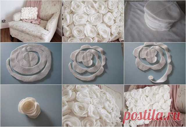 Нежная подушка с флисовыми розами