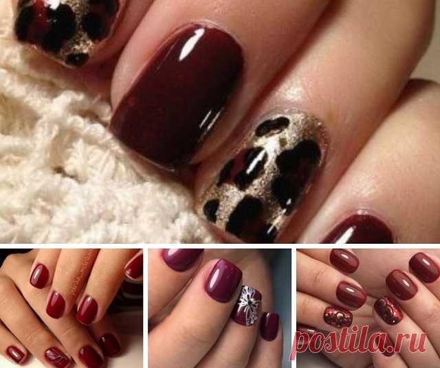 Роскошь в оттенках бордо — 18 примеров маникюра на короткие ногти — Мой милый дом