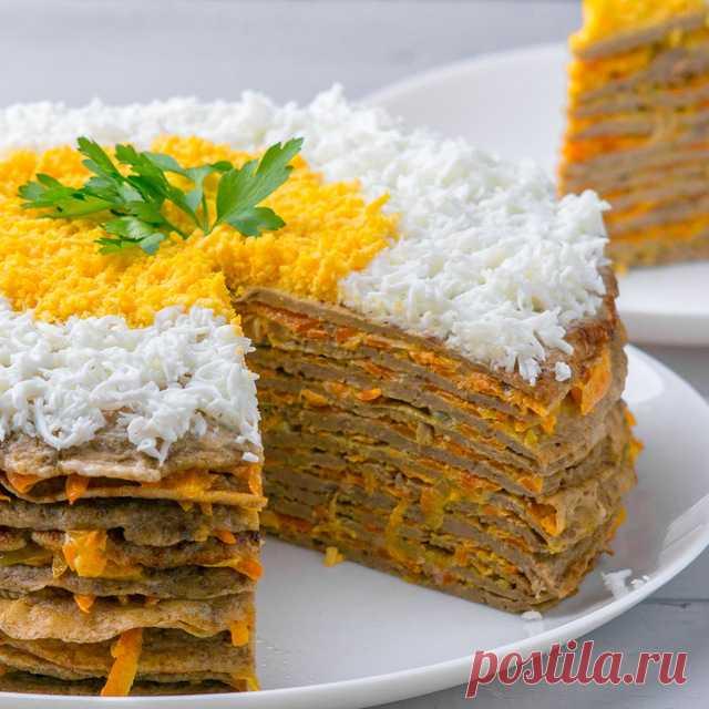 Нежный,вкусный печеночный торт с гречкой
