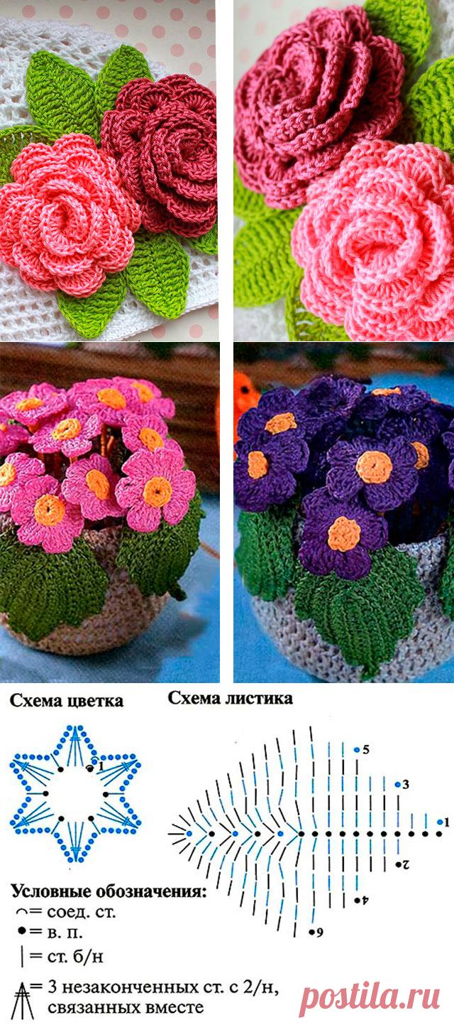 скрытая мать цветы вязанные крючком со схемами фото кухне