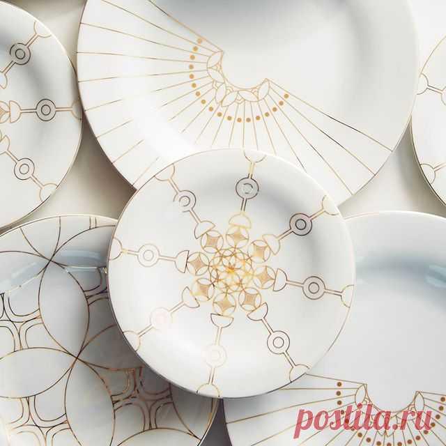 Tebr Tableware Porcelain with 14 karat gold To pre-order, email: orders@aljoudlootah.com