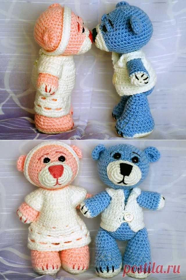 Влюбленные мишки — вяжем игрушки крючком (описание) - Ярмарка Мастеров - ручная работа, handmade