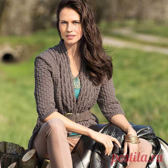 Кардиган с рельефными планками для женщин спицами – 4 модели со схемами и описанием — Пошивчик одежды
