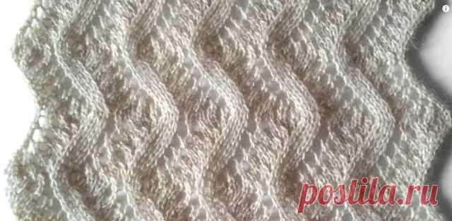 два красивых нежных узора спицами ажурный узор для шарфа видео