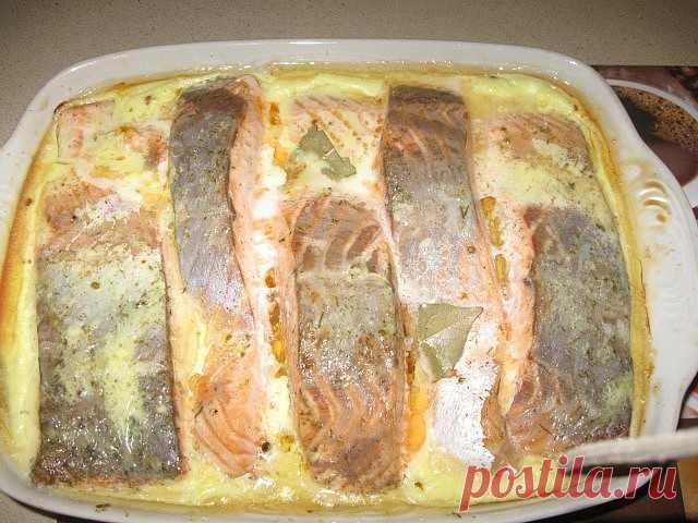 Рыба, запеченная в сметане  Ингредиенты:  ● 2 кг рыбы (хек, минтай) ● 3 головки лука ● 2 яйца ● 150 г сыра твердых сортов ● 400 г сметаны ● растительное масло ● мука ● маленький пучок укропа ● специи, соль и горчица по вкусу  Приготовление:  1. Рыбу помыть, почистить, нарезать небольшими кусочками. 2. Сделать панировку: в плоское блюдо насыпать муку, соль, специи и перемешать. 3. В панировке обвалять кусочки рыбы и выложить на противень с бортиками. 4. Нарезать лук полукол...