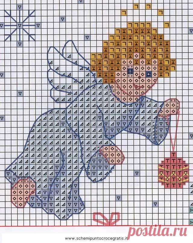 Natale_angeli_55 schema punto croce gratuito da stampare