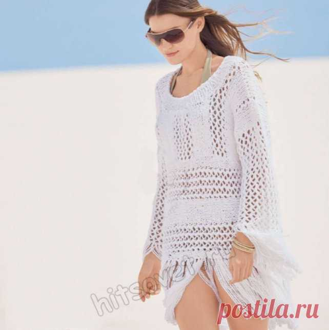 Белый летний пуловер с длиной бахромой - Хитсовет