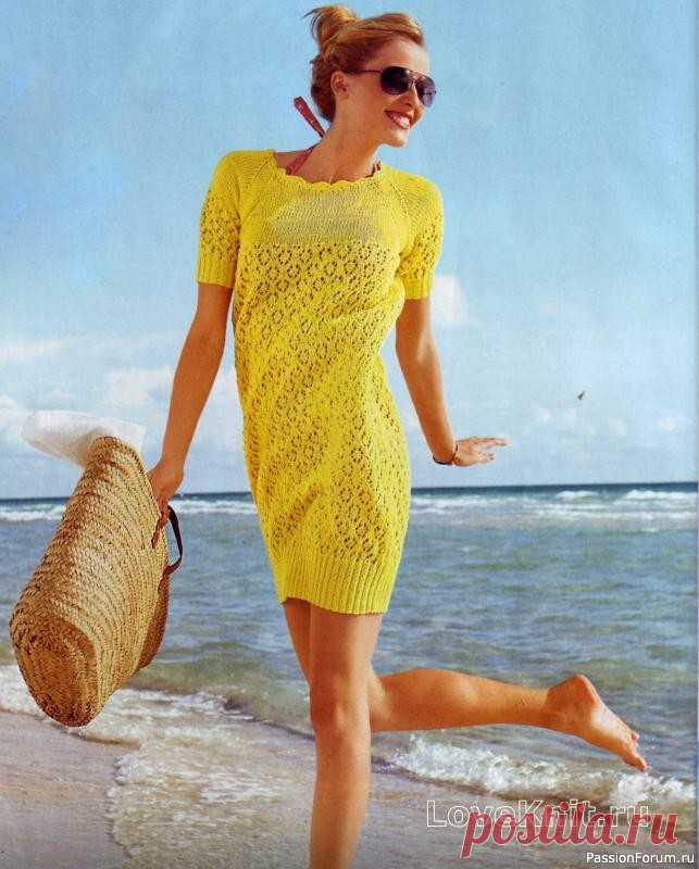 Желтое платье-баллон спицами | Вязание для женщин спицами. Схемы вязания спицами Универсальное платьице с юбкой баллон желтого цвета очень яркое и весеннее-летнее. В таком платье любая девушка будет выглядеть молодо, задорно и великолепно. Размеры: 36/38, 40/42, 44/46.Описание моделиВам потребуется:550 (600) 650 г жёлтой пряжи Bingo (100% хлопка, 125 м/50 г);спицы № 3...