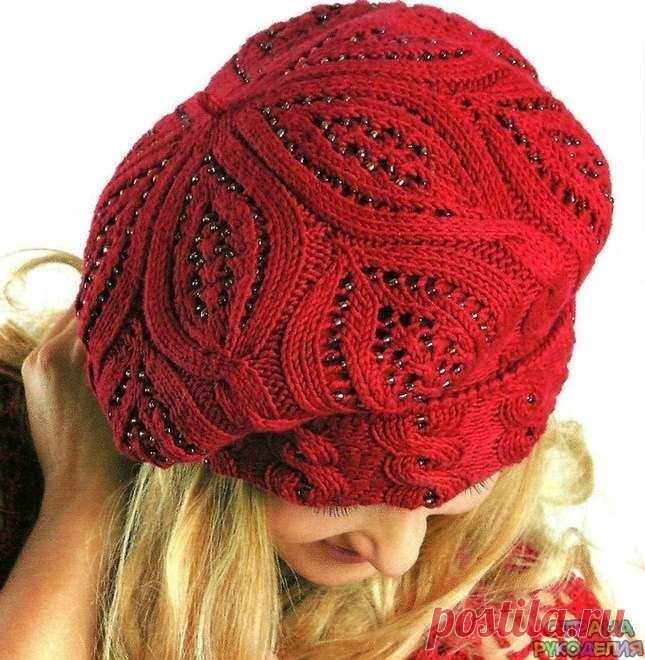 Beret with beads (Knitting by spokes)   the Inspiration of the Needlewoman Magazine