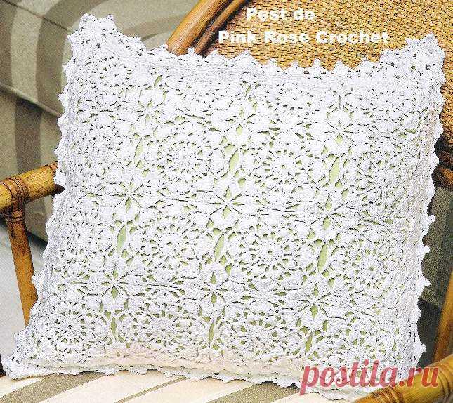 Белая подушка из мотивов вязаная крючком. Как вязать декоративную подушку крючком | Вязание для всей семьи
