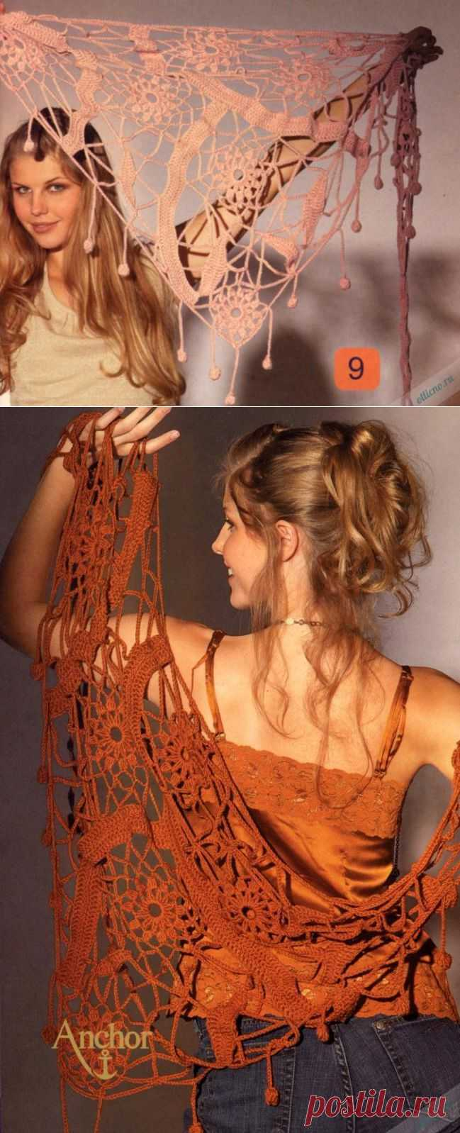 Фантазийная ажурная шаль крючком | Отлично! Школа моды, декора и актуального рукоделия