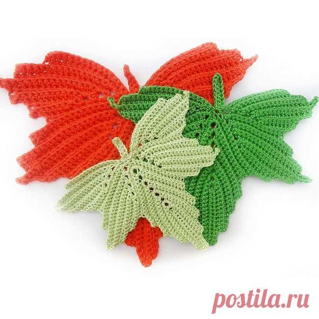 Для вязания подобных салфеток-листьев крючком подборка схем и МК, схемы вязания.